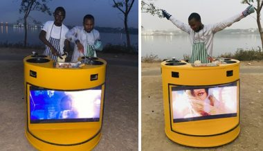 Nigerian man builds solar-powered cooker that has Television (Photos)