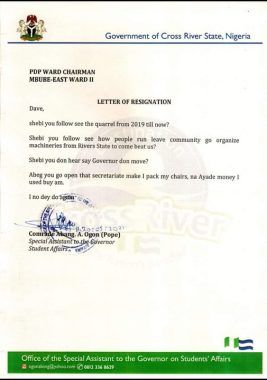 Funny Resignation Letter Of A PDP Member Emerges Online