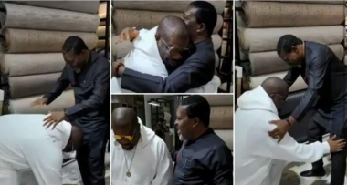 Don Jazzy kneels down to greet Kanayo O. Kanayo as he meets him for the first time (Video)