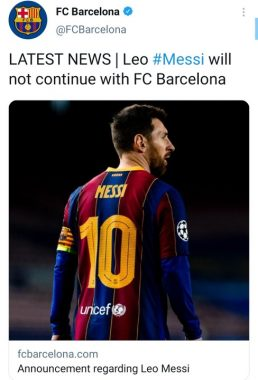 Barcelona confirm Messi's exit - See Details