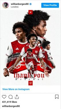 Willian has apologised to Arsenal fans for a disappointing spell at the club - See Full Details